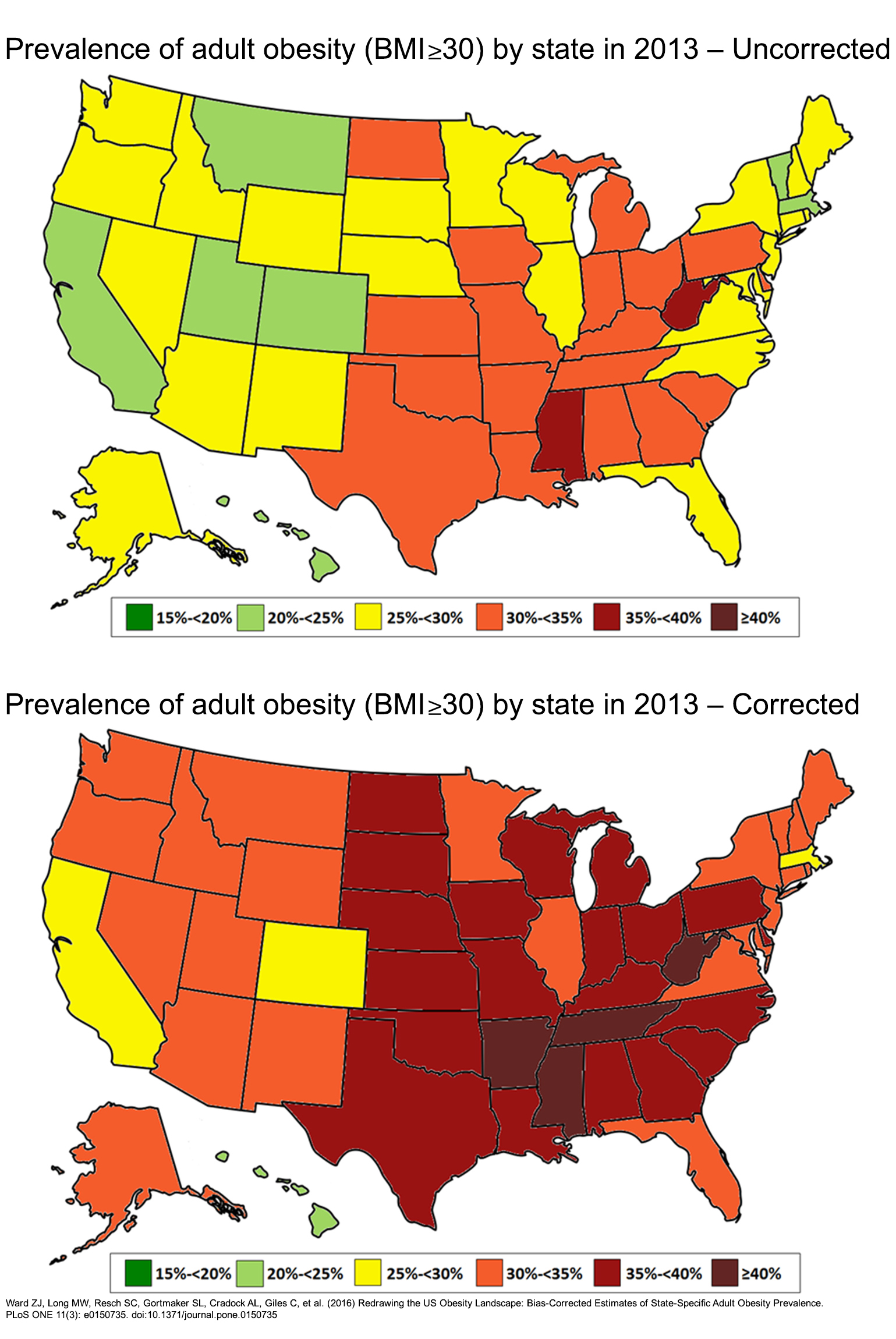 Summary Redrawing The US Obesity Landscape BiasCorrected - Map of obesity us