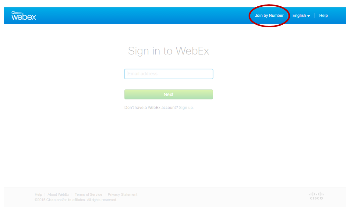 Step 1 to access WebEx