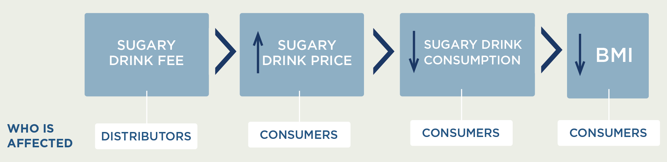 Logic model: Sugary drink fee - Distributors are affected. Leads to an increase in sugary drink price, and consumers are affected. This leads to a decrease in sugary drink consumption, and consumers are affected. This finally leads to a decrease in BMI, and consumers are affected.